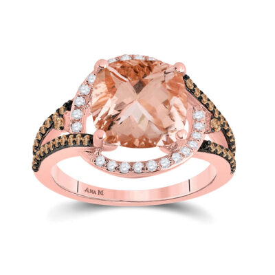 14kt Rose Gold Womens Cushion Morganite Diamond Solitaire Ring 4 Cttw