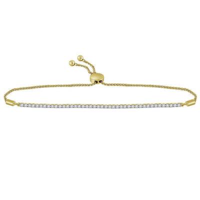 10kt Yellow Gold Womens Round Diamond Bolo Bracelet 1 Cttw