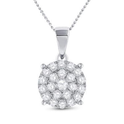 10kt White Gold Womens Round Diamond Cluster Pendant 2 Cttw