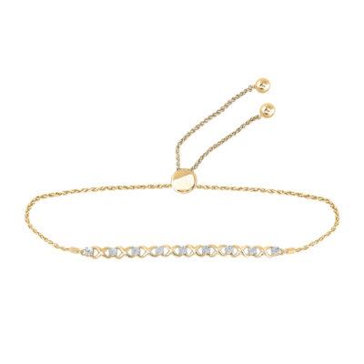 Yellow-tone Sterling Silver Womens Round Diamond Infinity Bolo Bracelet 1/20 Cttw
