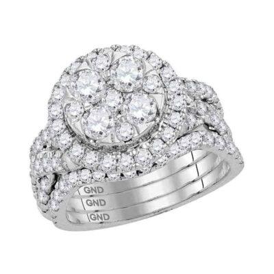 14kt White Gold Round Diamond Bridal Wedding Ring Band Set 2-1/2 Cttw
