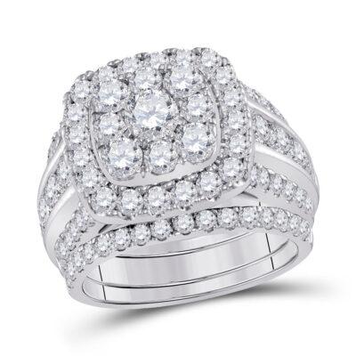 14kt White Gold Round Diamond Bridal Wedding Ring Band Set 4 Cttw