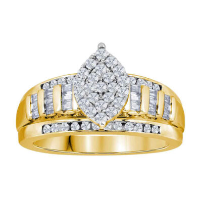 Yellow-tone Sterling Silver Round Diamond Oval Cluster Bridal Wedding Ring 1/2 Cttw