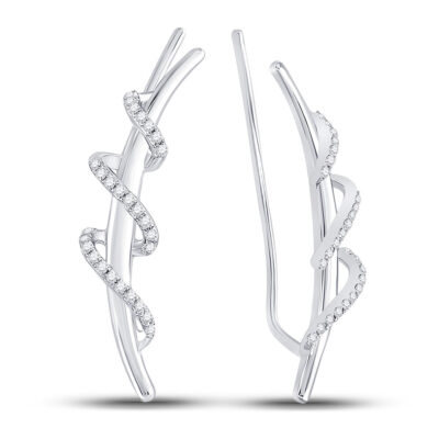 Sterling Silver Womens Round Diamond Spiral Climber Earrings 1/5 Cttw