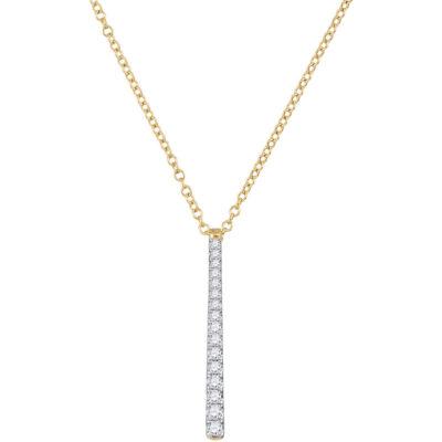 10kt Yellow Gold Womens Round Diamond Stick Drop Fashion Pendant 1/5 Cttw