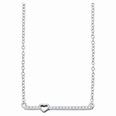 10kt White Gold Womens Round Diamond Heart Bar Necklace 1/10 Cttw