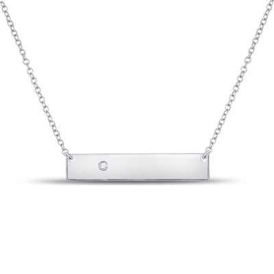 10kt White Gold Womens Round Diamond Rectangle Bar Necklace .02 Cttw