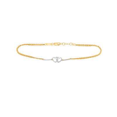10kt Yellow Gold Womens Round Diamond Double Linked Heart Bracelet 1/5 Cttw