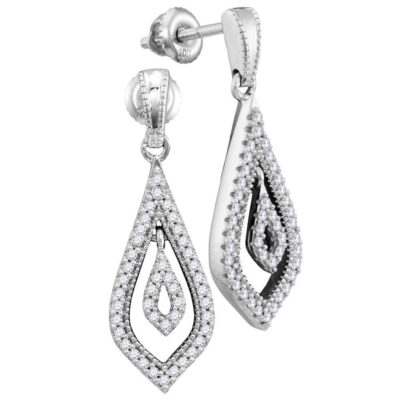 10kt White Gold Womens Round Diamond Teardrop Dangle Earrings 1/4 Cttw