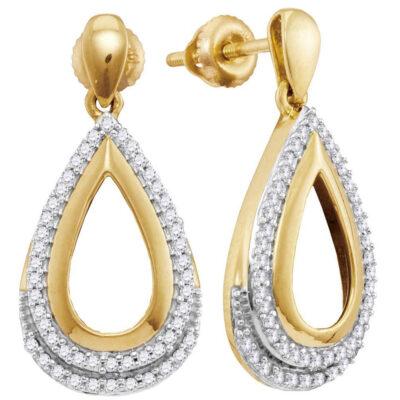 10kt Yellow Gold Womens Round Diamond Teardrop Dangle Earrings 1/4 Cttw