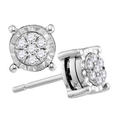 10kt White Gold Womens Round Diamond Flower Cluster Earrings 1/8 Cttw