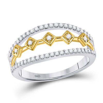 10kt Two-tone Gold Womens Round Diamond Band Ring 1/4 Cttw