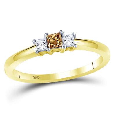 14kt Yellow Gold Princess Brown Diamond 3-stone Bridal Wedding Engagement Ring 1/4 Cttw