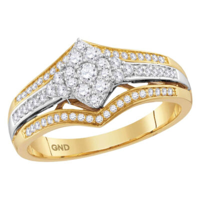 10kt Two-tone Gold Round Diamond Cluster Bridal Wedding Engagement Ring 1/2 Cttw