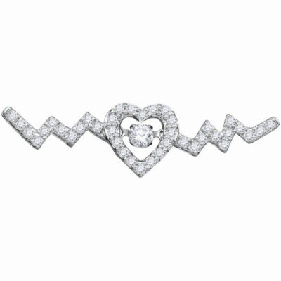 10kt White Gold Womens Round Diamond Heartbeat Necklace 1/3 Cttw