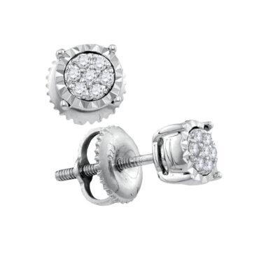 10kt White Gold Womens Round Diamond Flower Cluster Earrings 1/10 Cttw