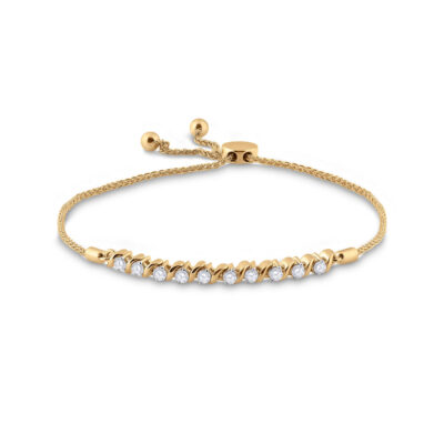 10kt Yellow Gold Womens Round Diamond Studded Bolo Bracelet 1/2 Cttw