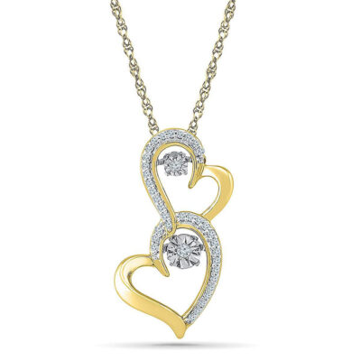 Yellow-Tone Sterling Silver Womens Round Diamond Moving Heart Pendant 1/8 Cttw