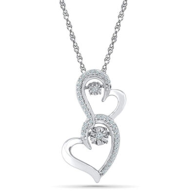 Sterling Silver Womens Round Diamond Moving Twinkle Heart Pendant 1/8 Cttw