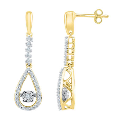 10kt Yellow Gold Womens Round Diamond Moving Twinkle Teardrop Dangle Earrings 1/5 Cttw