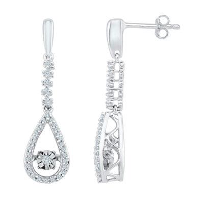 10kt White Gold Womens Round Diamond Moving Twinkle Teardrop Dangle Earrings 1/5 Cttw