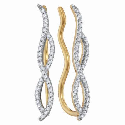 10kt Yellow Gold Womens Round Diamond Infinity Climber Earrings 1/4 Cttw
