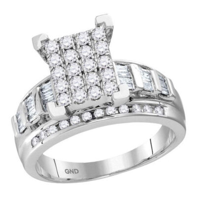 10kt White Gold Round Diamond Bridal Wedding Engagement Ring 7/8 Cttw Size 10