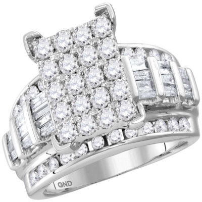 10kt White Gold Round Diamond Bridal Wedding Engagement Ring 2 Cttw Size 6