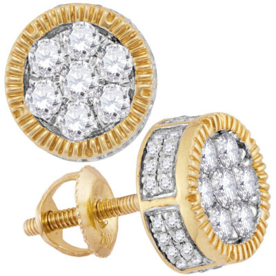 10kt Yellow Gold Mens Mens Unisex Round Diamond Cluster Milgrain Earrings 7/8 Cttw