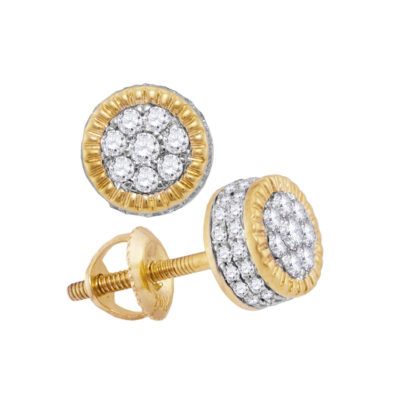 10kt Yellow Gold Mens Round Diamond Fluted Flower Cluster Stud Earrings 3/4 Cttw
