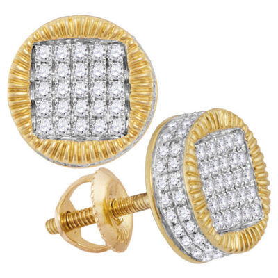 10kt Yellow Gold Mens Round Diamond Fluted Circle Stud Earrings 1/2 Cttw