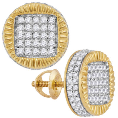 10kt Yellow Gold Mens Round Diamond Fluted Circle Stud Earrings 3/4 Cttw