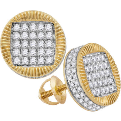 10kt Yellow Gold Mens Round Diamond Fluted Circle Stud Earrings 1 Cttw