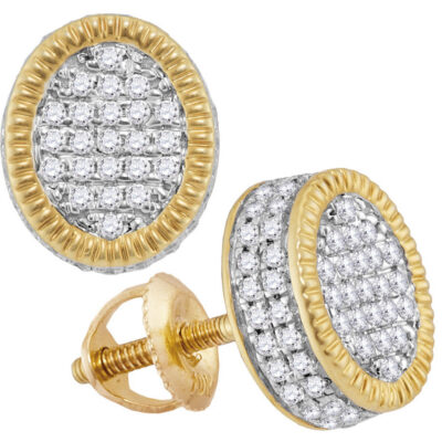 10kt Yellow Gold Mens Round Diamond Fluted Oval Cluster Stud Earrings 1/2 Cttw