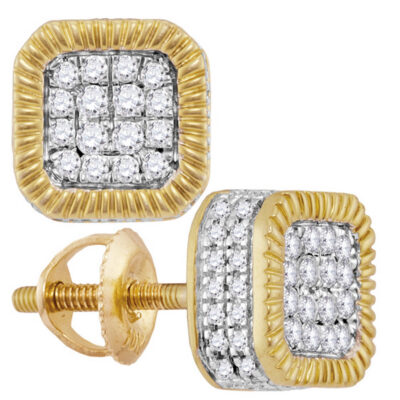 10kt Yellow Gold Mens Round Diamond Fluted Square Cluster Stud Earrings 3/4 Cttw