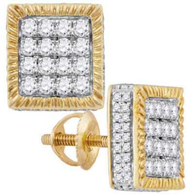 10kt Yellow Gold Mens Round Diamond Square 3D Cluster Stud Earrings 1 Cttw