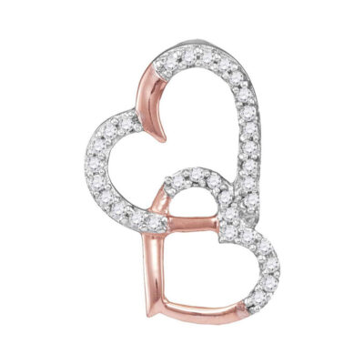 10kt Rose Gold Womens Round Diamond Heart Pendant 1/10 Cttw