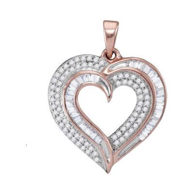 10kt Rose Gold Womens Baguette Diamond Heart Pendant 3/8 Cttw