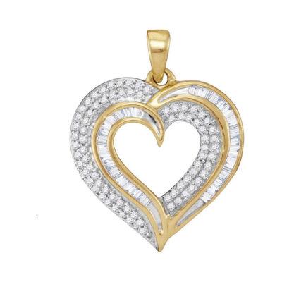 10kt Yellow Gold Womens Baguette Diamond Heart Pendant 3/8 Cttw