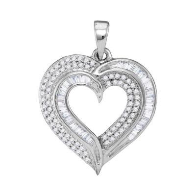 10kt White Gold Womens Baguette Diamond Heart Pendant 3/8 Cttw