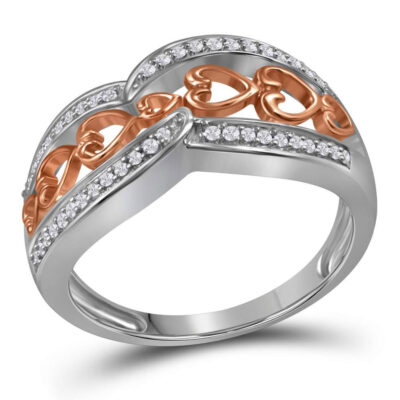 Sterling Silver Womens Round Diamond Heart Band Ring 1/8 Cttw