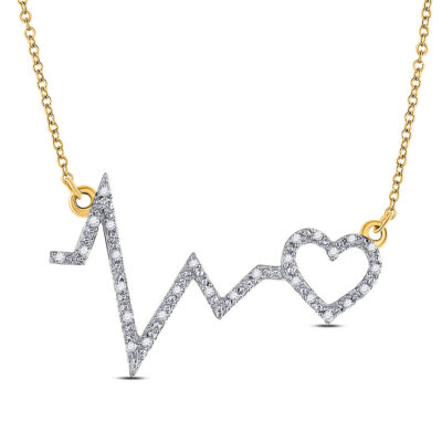 10kt Yellow Gold Womens Round Diamond Heartbeat Necklace 1/10 Cttw