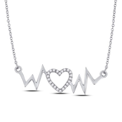 10kt White Gold Womens Round Diamond Heartbeat Necklace 1/10 Cttw