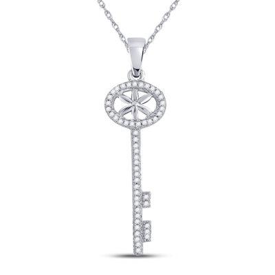 10kt White Gold Womens Round Diamond Key Pendant 1/6 Cttw
