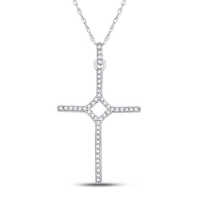 10kt White Gold Womens Round Diamond Cross Pendant 1/6 Cttw