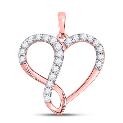 10kt Rose Gold Womens Round Diamond Infinity Heart Pendant 1/3 Cttw