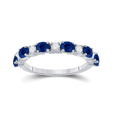 10kt White Gold Womens Oval Blue Sapphire Diamond Alternating Band Ring 1-1/2 Cttw