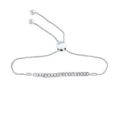 Sterling Silver Womens Round Diamond Single Row Bolo Bracelet 1/12 Cttw