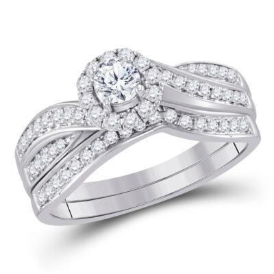 14kt White Gold Round Diamond Bridal Wedding Ring Band Set 5/8 Cttw