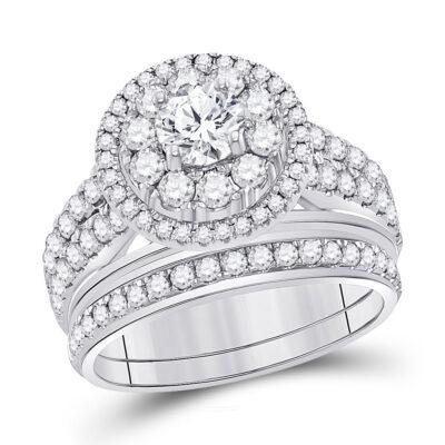 14kt White Gold Round Diamond Bridal Wedding Ring Band Set 1-1/5 Cttw